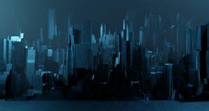Free Sci-fi Night Landscape Fantastic Empty City Light Blue Neon Glow Top View. Surreal Alien Architecture Concept. 3D Rendering Stock Photo - 184951930