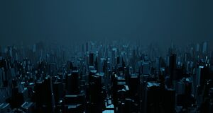 Free Sci-fi Night Landscape Fantastic Empty City Light Blue Neon Glow Top View. Surreal Alien Architecture Concept. 3D Rendering Royalty Free Stock Photos - 184952288