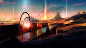 Sci-fi planet. Futuristic planet landscape illustration with hills and bridge generator Stock Photography