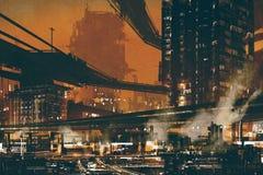 Sci fi plats av futuristisk industriell cityscape Arkivbild