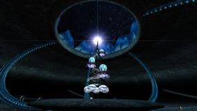 Sci fi platstorn i en grotta Fantasin 3d framför illustrationen stock illustrationer