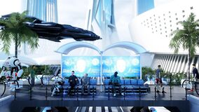 Sci Fi railway futuristic station. Future concept. Dinamyc trees. . Aerial view. 3d rendering