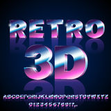 Sci-Fi retro font. 3D Sci-Fi 80`s retro alphabet movie font. 3D volume extrude metal chrome effect letters and numbers. Vector typeface set Royalty Free Stock Photography