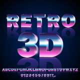Sci-Fi retro font. 3D Sci-Fi 80`s retro alphabet movie font. 3D volume extrude metal chrome effect letters and numbers. Vector typeface set Royalty Free Stock Photos