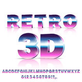 Sci-Fi retro font. 3D Sci-Fi 80`s retro alphabet movie font. 3D volume extrude metal chrome effect letters and numbers. Vector typeface set on white background Stock Images