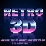 Sci-Fi retro font. 3D Sci-Fi 80`s retro alphabet movie font. 3D volume extrude metal chrome effect letters and numbers. Vector typeface set Stock Photos
