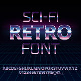 Sci-Fi retro font. Sci-Fi 80`s retro alphabet movie font. Metal chrome effect letters and numbers. Vector typeface set Stock Images