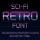 Sci-Fi retro font. Sci-Fi 80`s retro alphabet movie font. Metal chrome effect letters and numbers. Vector typeface set Royalty Free Stock Photo