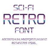 Sci-Fi retro font. Sci-Fi 80`s retro alphabet movie font. Metal chrome effect letters and numbers. Vector typeface set Royalty Free Stock Photos