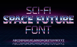 Sci-Fi retro font. Sci-Fi space future font in 80`s retro movie style. Metal chrome effect alphabet letters and numbers. Vector typeface set Stock Photo