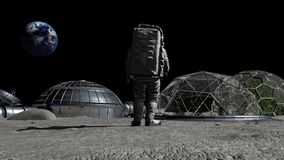 Sci-fi scene. The colony of the future on the moon. Astronaut walking on the moon.
