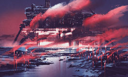 Sci-fi scene of industrial city. Illustration painting Royalty Free Stock Photo