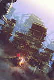 Sci-fi scene of old building,cyberpunk concept. Illustration painting Stock Photos