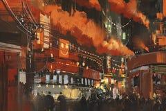 Sci-fi scene showing cyberpunk cityscape. Illustration Stock Photos