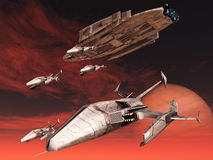 Sci-fi spacecraft. Squadron of fighters descend from space cruiser Royalty Free Stock Photos