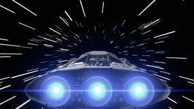 Sci-fi spaceship with pulsating engines jump into hyperspace, 3d animation. Jump into hyperspace, 3d animation stock footage