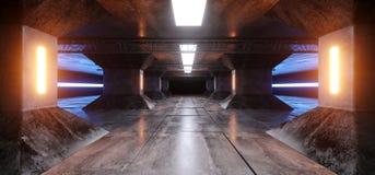 Sci Fi statku Grunge betonu kolumn korytarza Futurystycznego Obcego Odbijającego statku kosmicznego Pomarańczowego koloru żółtego ilustracja wektor