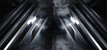 Sci Fi statku kosmicznego metalu betonu Grunge Glansowanego zmroku Bia?ej ?uny Futurystyczny Wirtualny Abstrakcjonistyczny tr?jbo ilustracja wektor