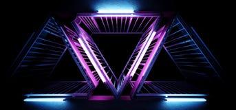 Sci Fi techniki obcego metalu Nowożytny Futurystyczny Szczegółowy Wibrujący trójbok Kształtować struktury Z Neonowymi Dowodzonymi ilustracji