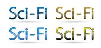 Sci fi teksta słowa symbolu loga ikony kruszcowy glansowany szklany projekt na białym tle Fotografia Stock