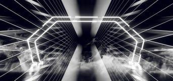 Sci FI-Tor-Rauch-futuristischer Neonlaser-Raumschiff-zukünftiger dunkler Korridor-glühende weiße konkrete Schmutz-Hallen-Wirklich lizenzfreie abbildung