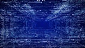 Sci Fi tunel Kamera rusza się przez HUD interfejsu z programowanie dane kodu tekstem i futurystycznymi HUD elementami ilustracji