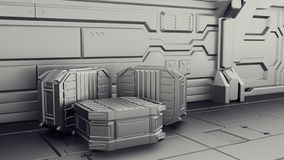 Sci-fi warehouse where containers are stored. Laboratory on a spaceship. 3d render royalty free illustration