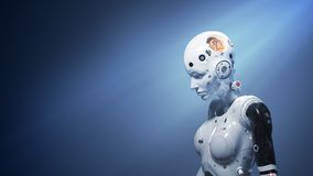 Sci-fi woman  digital world. Robot woman, sci-fi woman  digital world of the future of neural networks and the artificial intelligence 3d render