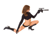 Sci fi woman with laser gun Stock Photo