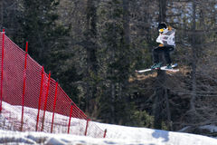Sci FIS Junior World Chanpionship, atleta di stile libero nello slopestyle Immagine Stock Libera da Diritti