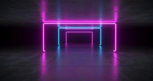 Sci futuriste fi bleu et lumières pourpres de tube au néon rougeoyant dans la Co illustration libre de droits