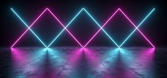 Sci futuriste fi bleu et lumières pourpres de tube au néon rougeoyant dans la Co illustration de vecteur