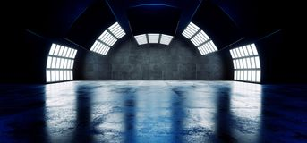 Sci futuriste fi grand Hall Dark Grunge Reflective Concrete vide moderne a courbé la salle d'exposition vide de grande de lumière illustration de vecteur