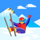 Sci, inverno, neve, sciatori e divertimento - famiglia che gode dell'inverno Immagine Stock Libera da Diritti