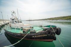 Sciabica di pesca marittima sul nuovo pilastro Sarafovo in Bourgas, Bulgaria Immagine Stock Libera da Diritti