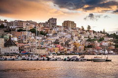 SCIACCA, ITALY - October 18, 2009: panoramic view of coastline i. N Sciacca, Italy. Sciacca is known as the city of thermal baths since Greek royalty free stock photo