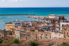 SCIACCA, ITALY - October 18, 2009: panoramic view of coastline i. N Sciacca, Italy. Sciacca is known as the city of thermal baths since Greek Stock Images
