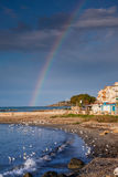 SCIACCA, ITALY - October 18, 2009: panoramic view of coastline w. Ith rainbow in Sciacca, Italy. Sciacca is known as the city of thermal baths since Greek Stock Photos