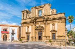 Basilica Madonna del Soccorso in Sciacca, province of Agrigento, Sicily, Italy. Sciacca is a town and comune in the province of Agrigento on the southwestern royalty free stock photos