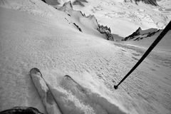 Sciando da solo nelle Ande Fotografia Stock