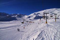 Sciando in La Thuile Italia Fotografie Stock Libere da Diritti