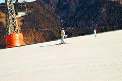 Sciando nelle alpi svizzere, La Tzoumaz Immagine Stock