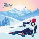 Sciando nelle montagne Vector l'illustrazione che promuove la ricreazione, gli sport, il turismo ed il viaggio illustrazione vettoriale