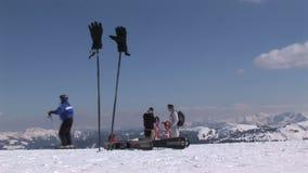 Sciando in Saalbach-hinterglemm Austria stock footage