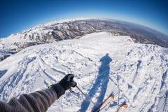 Sciando sulle alpi, vista personale soggettiva, fish-eye Fotografia Stock
