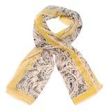 Sciarpa beige su fondo bianco Fotografie Stock Libere da Diritti