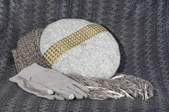 Sciarpa, berretto e guanti femminili grigi Fotografia Stock