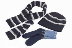 Sciarpa, calze e protezione fotografie stock