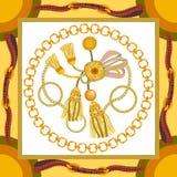 Sciarpa di seta con i motivi barrocco di stile illustrazione di stock