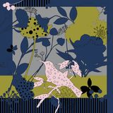 Sciarpa di seta con i papaveri di fioritura Immagini Stock Libere da Diritti